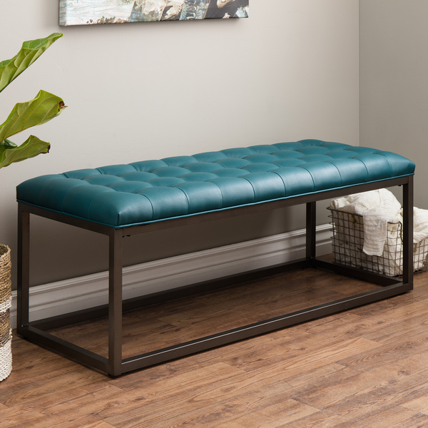 Healy Teal Leather Tufted Bench