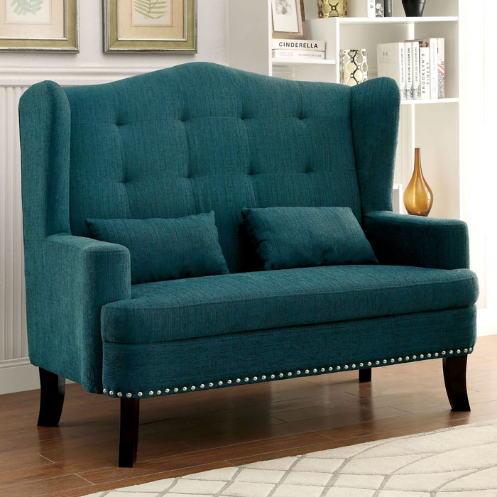 Teal Lakewood Wingback Loveseat Chair