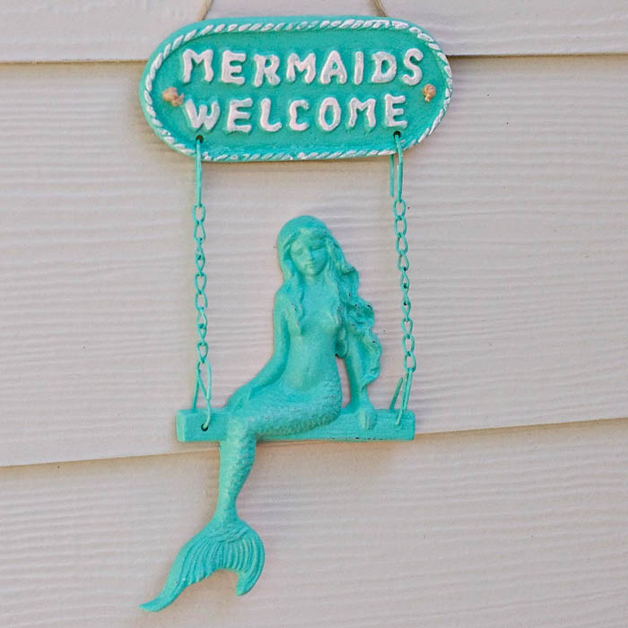 Turquoise Mermaid Welcome Sign