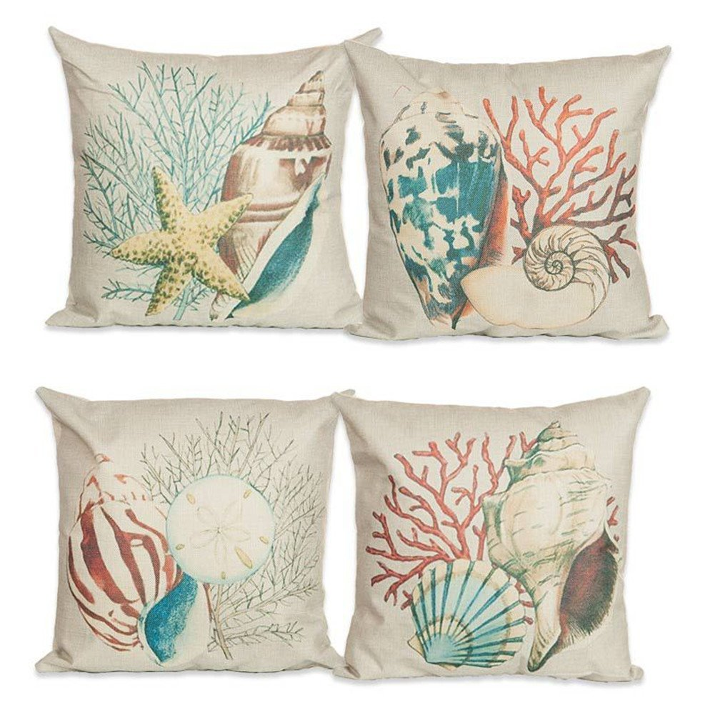 4 Pack Ocean Theme Pillow Covers Everything Turquoise