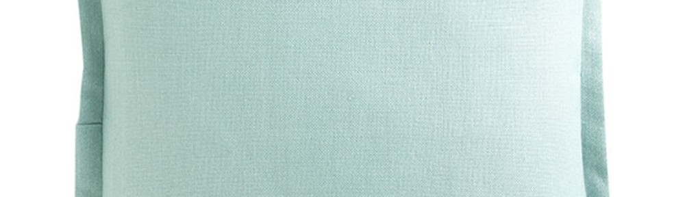 Aqua Flanged European Flax Linen Pillow Cover