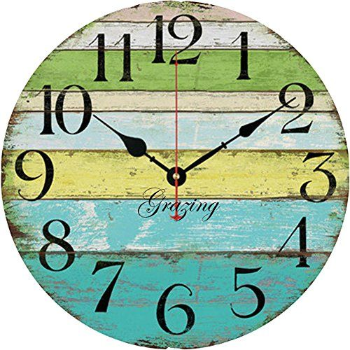 Colorful Ocean Stripe Wooden Wall Clock