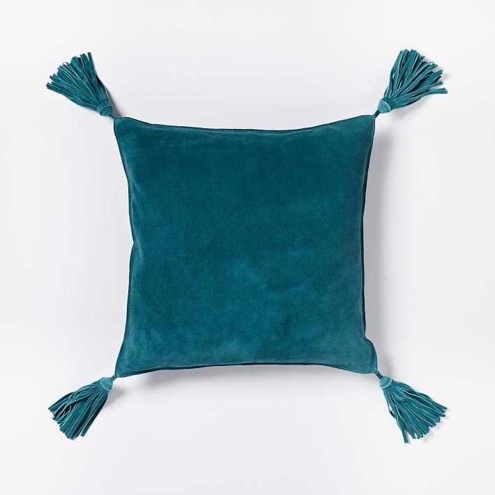 Deep Teal Suede Tassel Pillow Cover