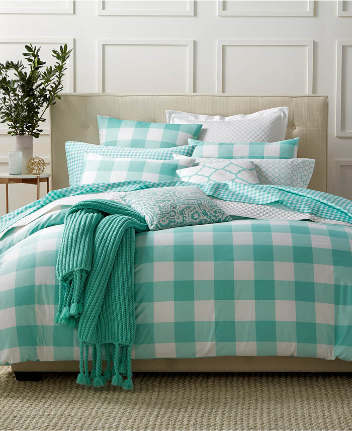 Gingham Teal Bedding Collection