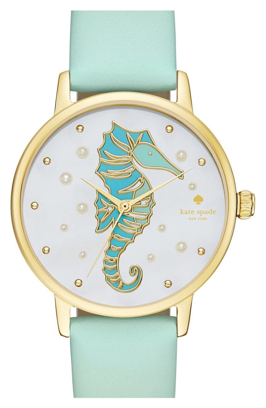 Kate Spade Seahorse Metro Leather Strap Watch