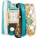 Turquoise Leather & Chain Wrap Bracelet Watch