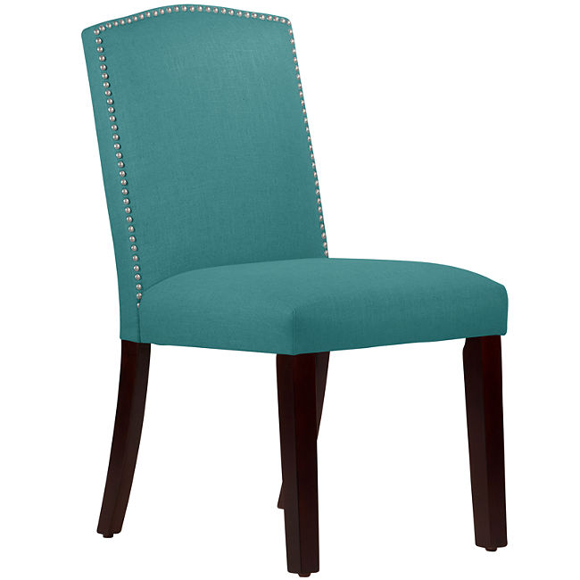 Liesel upholstered dining chair with nailhead trim everything turquoise - Turquoise upholstered dining chair ...