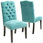 Turquoise Macie Set of 2 Tufted Parsons Dining Chairs