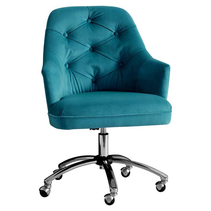 Preferred Peacock Velvet Tufted Desk Chair | Everything Turquoise BB63