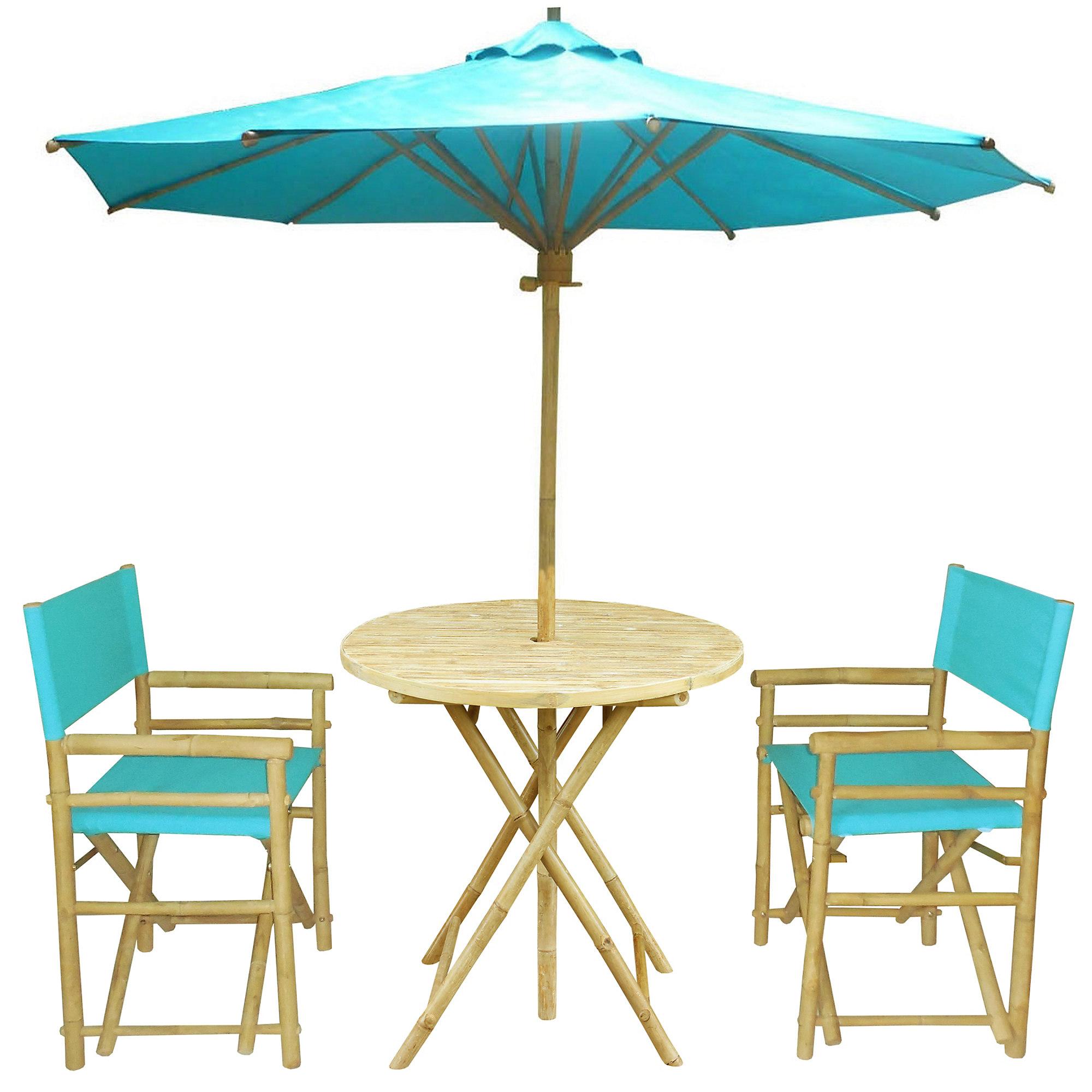 Round Outdoor Dining Set in Aqua