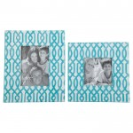 White and Teal Ashley Baina Photo Frame Set