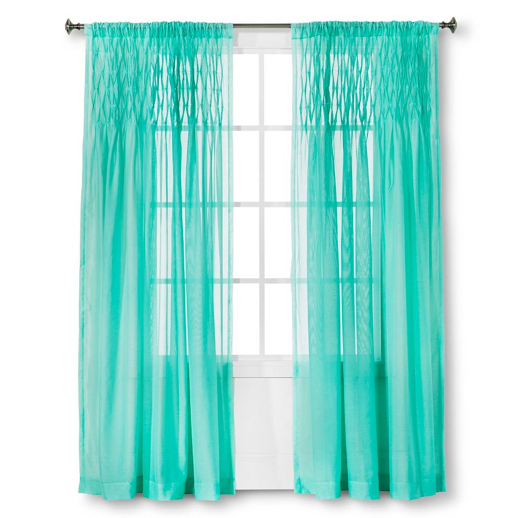 Sunbleached Turquoise Pintuck Curtain Panel