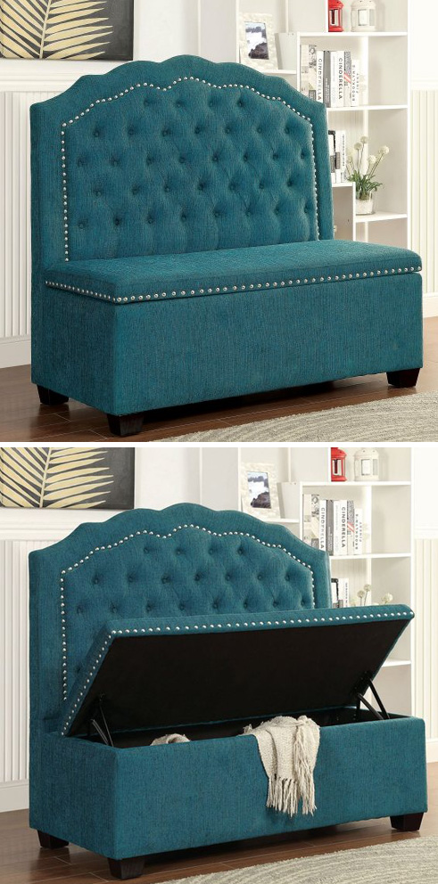 Merveilleux Belleview Teal Loveseat Chair With Storage