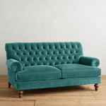 Teal Velvet Fan Pleat Settee