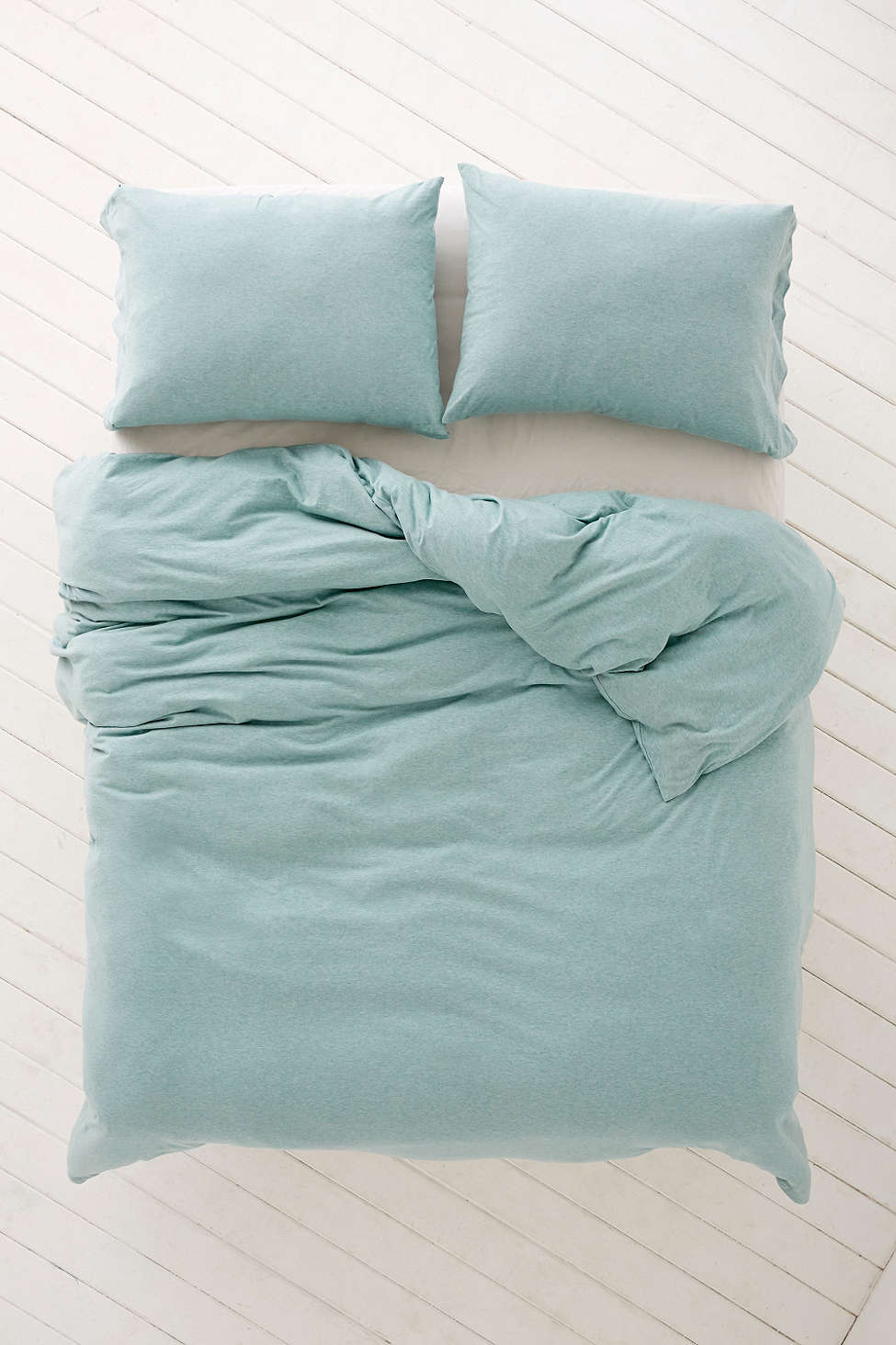 Turquoise Heathered Jersey Duvet Cover