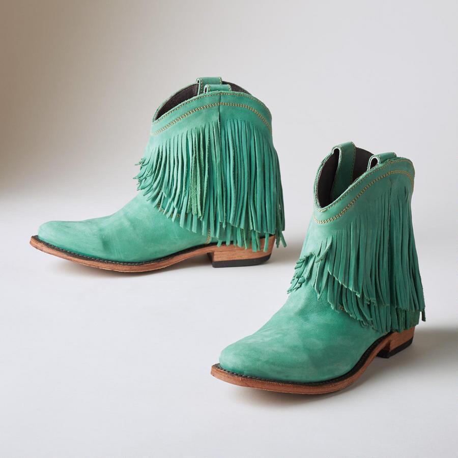 Turquoise Santa Fe Fringe Boots