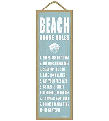 Beach House Rules Wood Sign