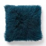 Blue Teal Mongolian Lamb Pillow Cover