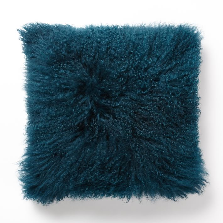 Blue Teal Mongolian Lamb Pillow Cover