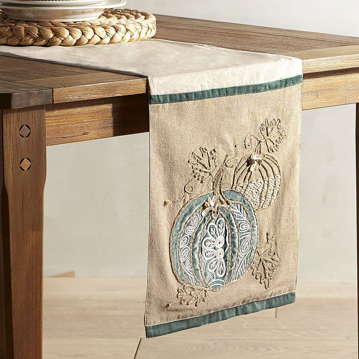Coastal Pumpkin Applique Table Runner Everything Turquoise
