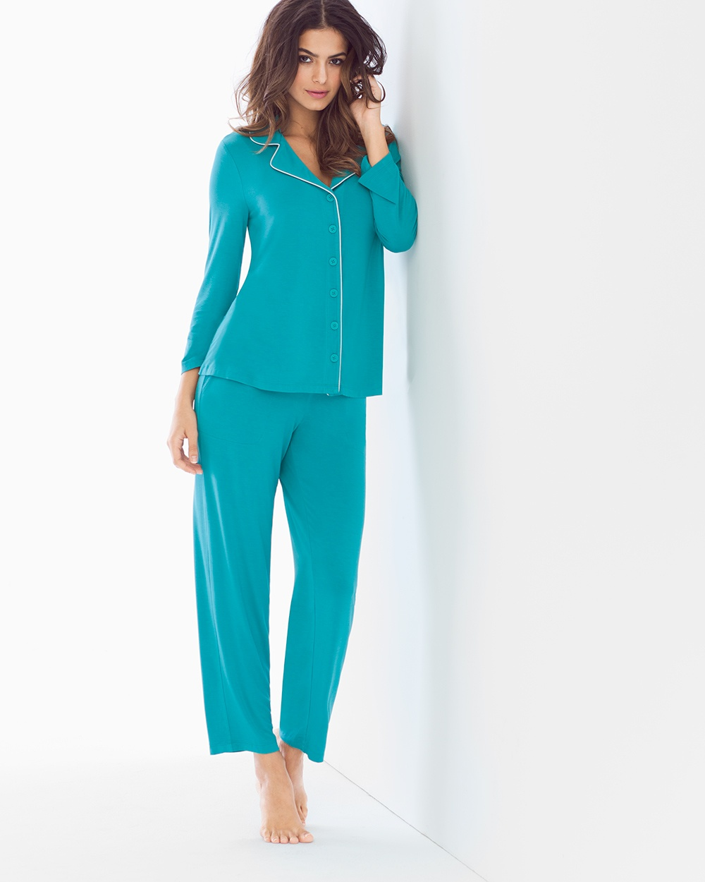 Cool Nights Pagoda Blue Notch Collar Pajamas