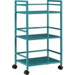 Marshall Teal Three Shelf Rolling Utility Cart