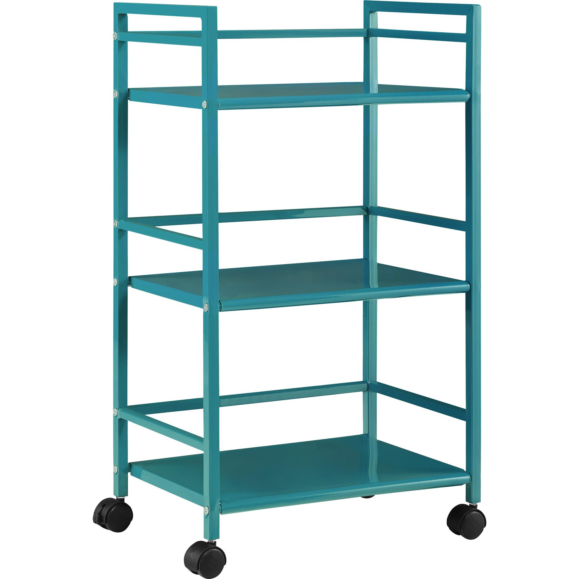 Marshall Teal Three Shelf Rolling Utility Cart
