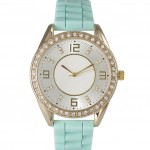 Mint Boyfriend Silicone Polished Rhinestone Watch