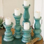 Set of 5 Aqua Ceramic Candle Holders