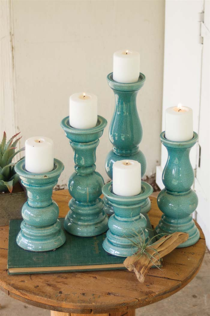 Set of 5 Light Blue Ceramic Candle Holders