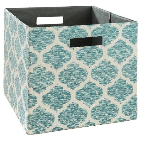 Teal Fabric Cube Storage Bin