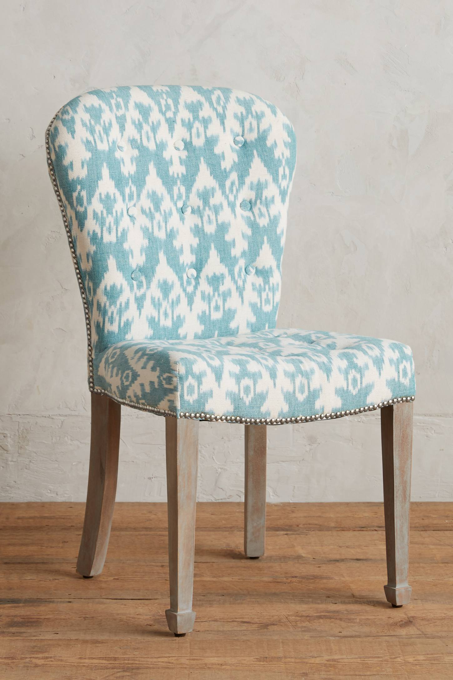 Turquoise ikat chair - Teal Ikat Wallasey Chair