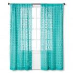 Turquoise Crochet Curtain Panel