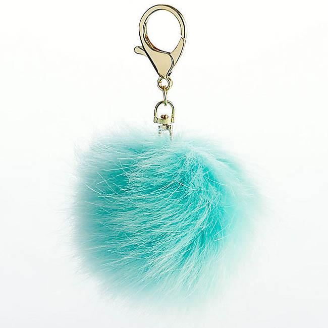 Aqua Fur Pom Keychain