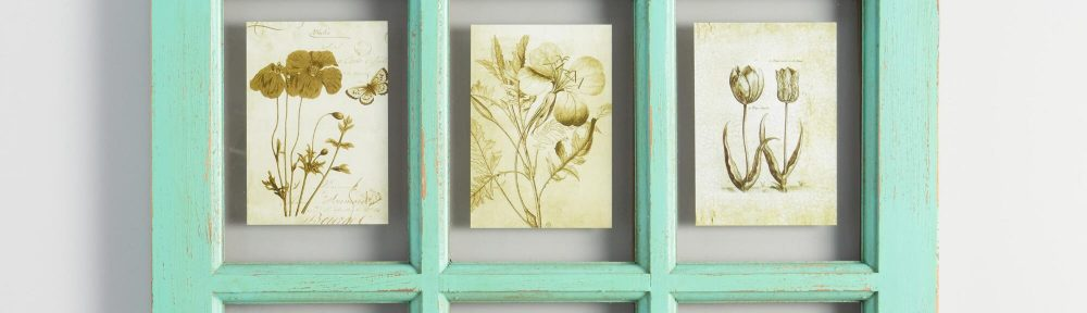 Distressed Aqua Wood 6 Photo Windowpane Frame