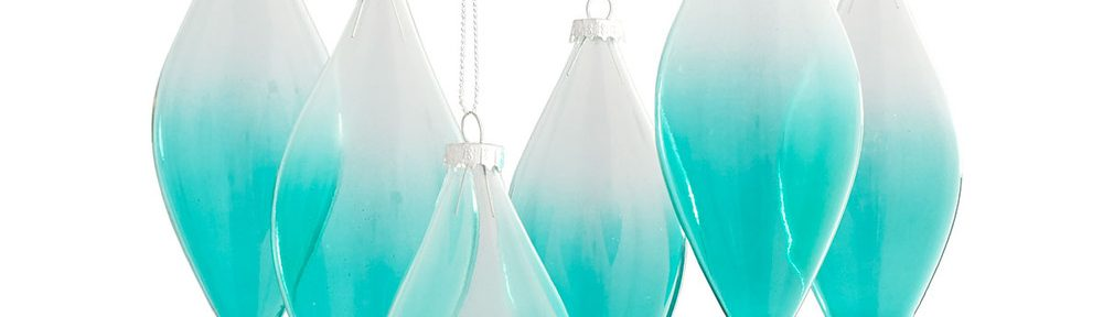 Green Ombre Teardrop Ornaments Set