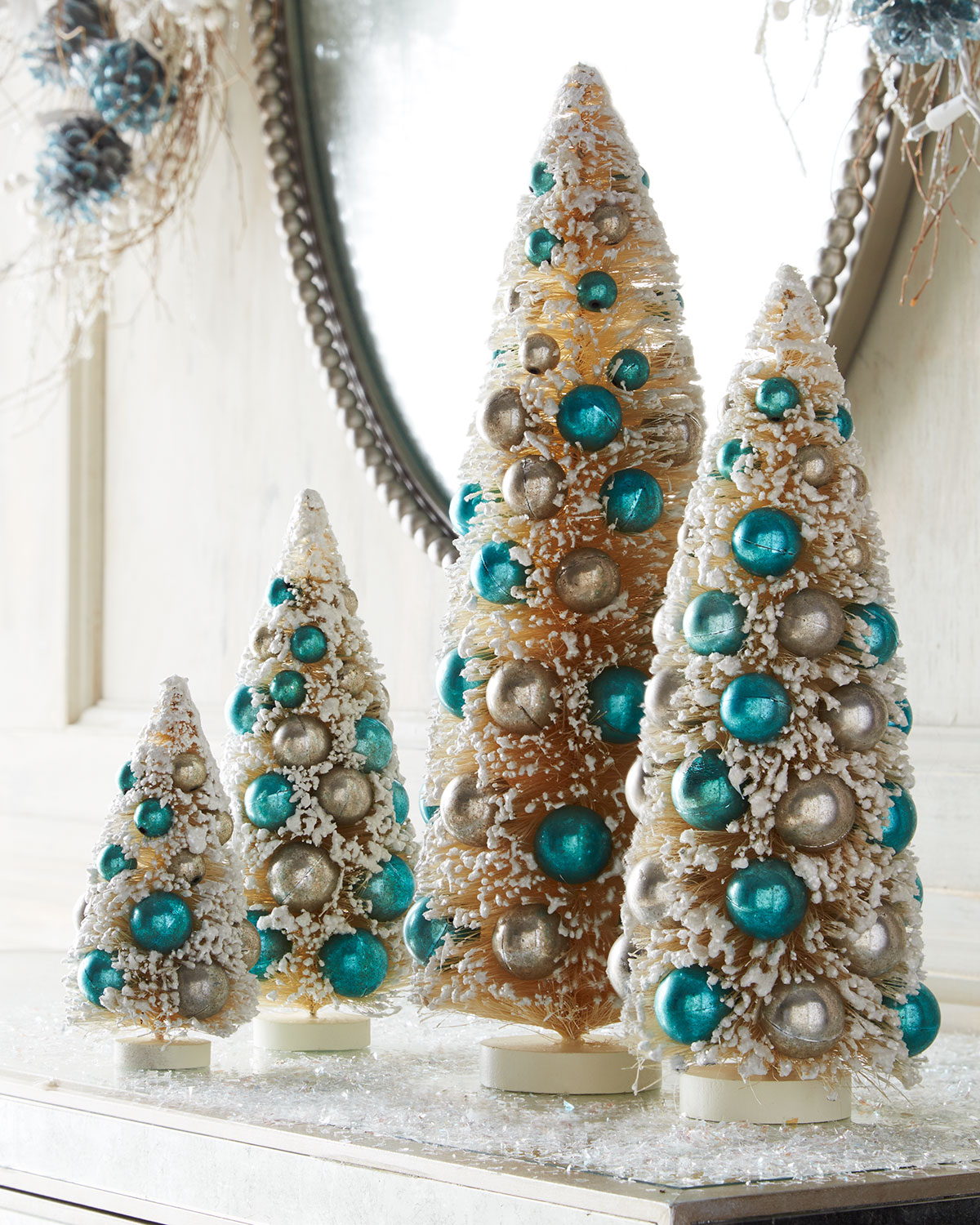 Ivory Miniature Trees with Blue Ornaments – 4-Piece Set ...