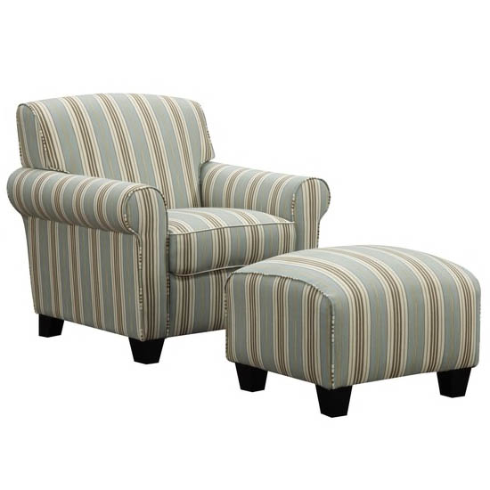 Mira Summer Aqua Blue Stripe Arm Chair and Ottoman