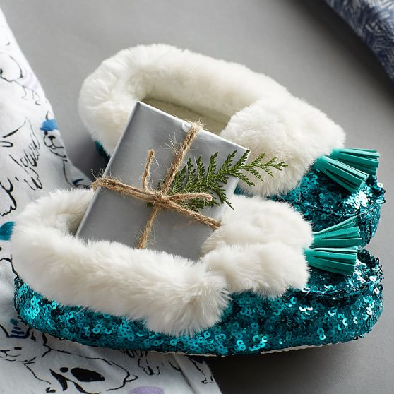 Peacock Sequin Faux-Fur Moccasin Slippers
