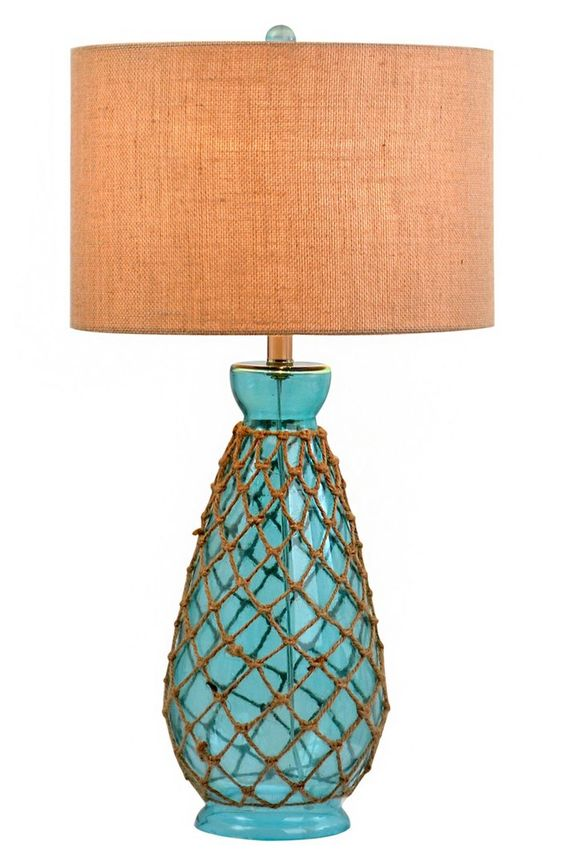 Rope Trim Glass Table Lamp