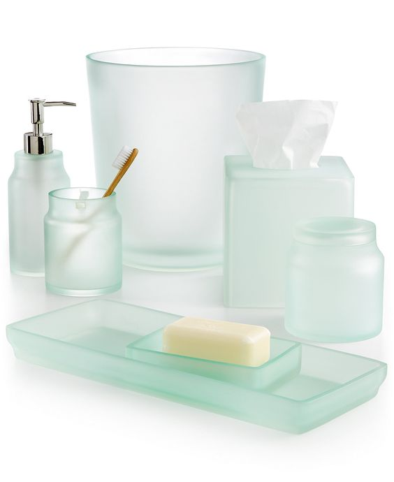 Sea glass frost bath accessories everything turquoise for Sea bathroom accessories