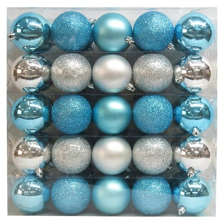 Silver Blue Shatterproof Christmas Ornament Set