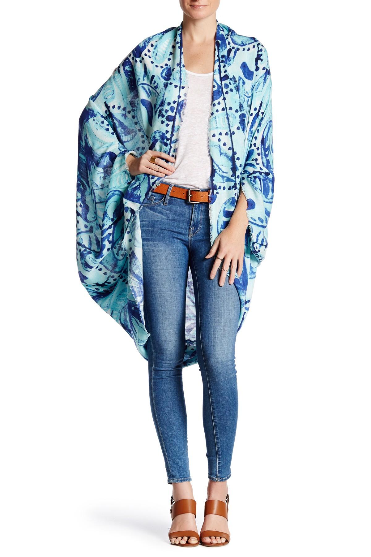Turquoise Batik Paisley Kimono