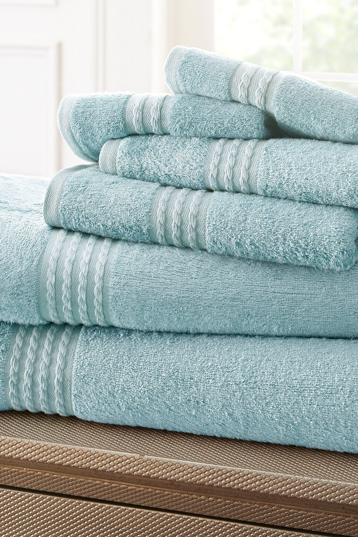 Amrapur 6-Piece Towel Set Light Blue