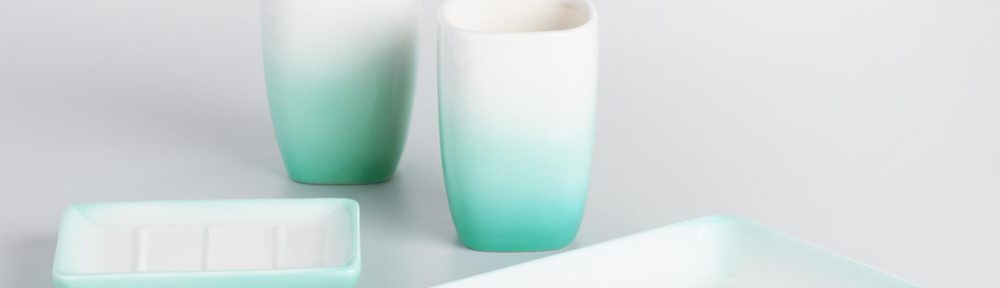 Aqua ombre ceramic bath accessories collection for Aqua bath accessories