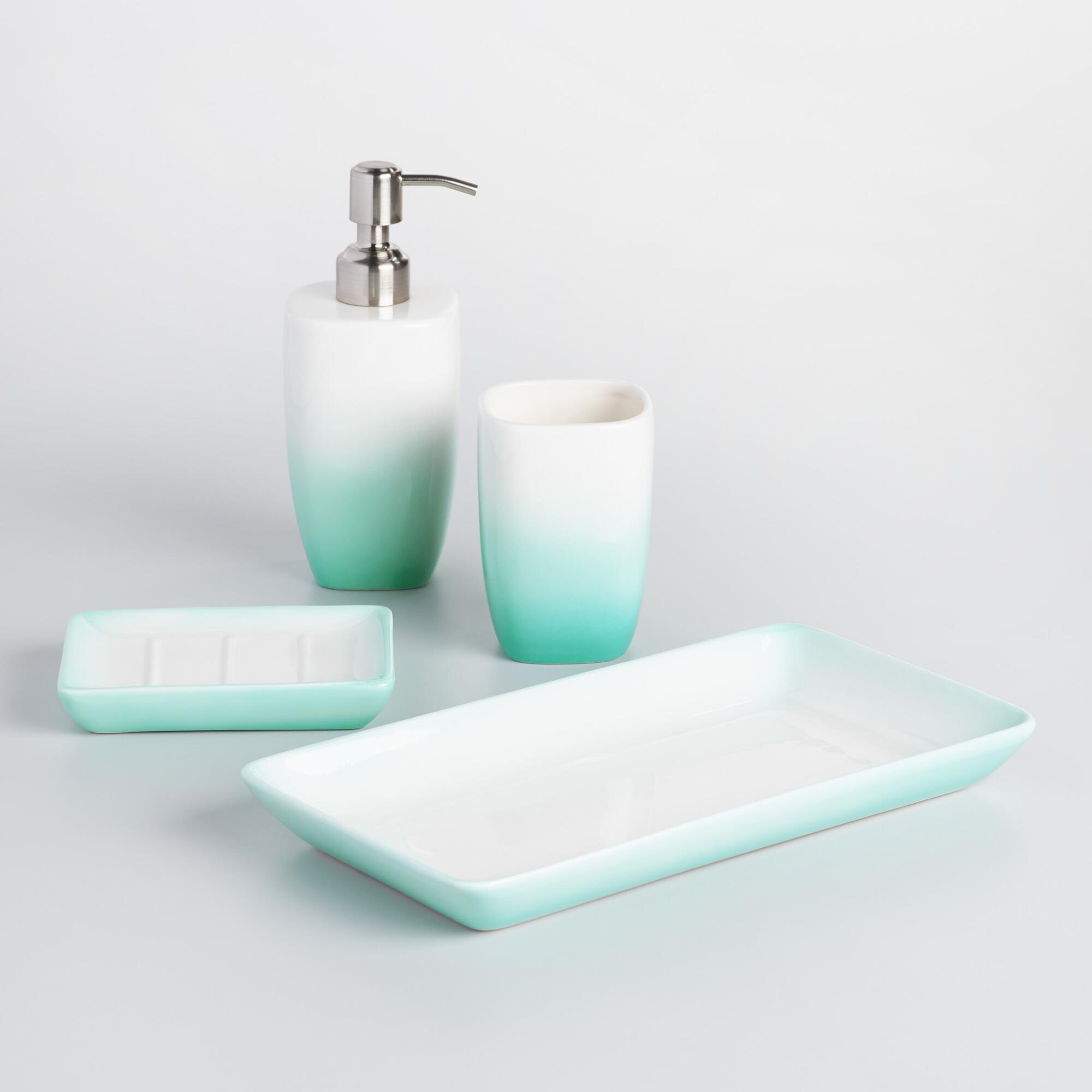 Aqua ombre ceramic bath accessories collection for Turquoise bathroom bin