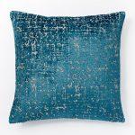 Blue Teal Jacquard Velvet Textured Pillow Cover