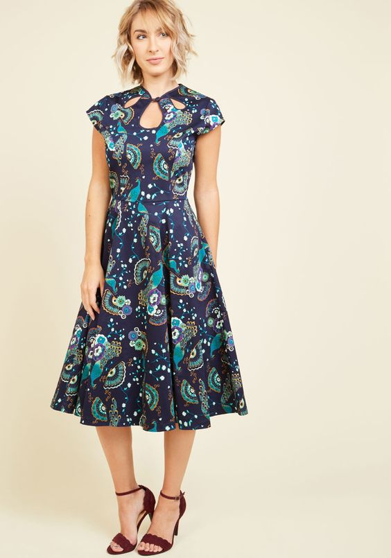 Cheer in Review Midi Dress in Midnight Plumage