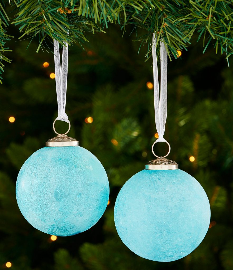 Frosted Turquoise Ball 2-Piece Ornament Set