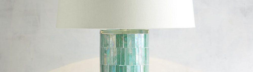 Mosaic Column Aqua Table Lamp